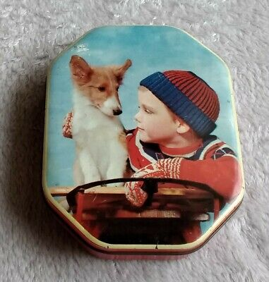 Vintage Toffee / Sweet / Confectionery Tin - Small - Boy With Dog Winter Design • 4.45£