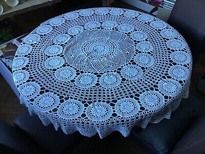 Heavy Lace Off White Circular Tablecloth Vgc • 7.50£