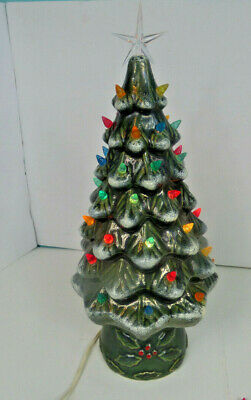 $ CDN81.44 • Buy Vintage Ceramic 17  Lighted Green Christmas Tree Flocked W/ Snow Exc. Condition!