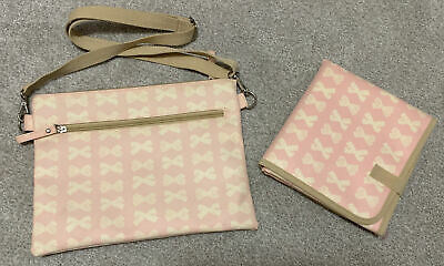 NEWPink Lining Yummy Mummy Changing Bag Small Mum On The Run Pink With Cream Bow • 5£