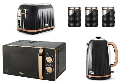 £239.99 • Buy Rose Gold Breville Set Jug Kettle & Toaster Microwave And Canisters Tower BLACK
