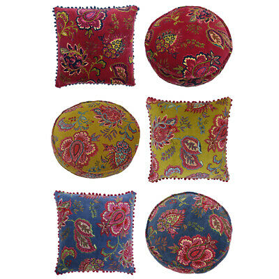 Riva Paoletti Malisa Paisley Indian Faux Velvet Pom Pom Fringed Cushion Cover • 13.49£