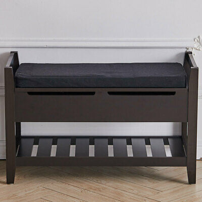 £29.95 • Buy Shoe Bench Hallway Entryway Wood Shoes Storage Rack Ottoman Cabinet Padded Seat