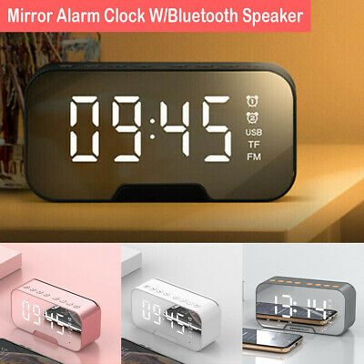 AU17.69 • Buy Mirror LED Alarm Clock Night Light Thermometer Digital Clock With USB Charging