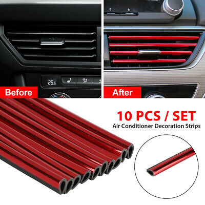 £5.18 • Buy 10x Car Accessories Red Air Conditioner Outlet Decoration Strip Universal Auto