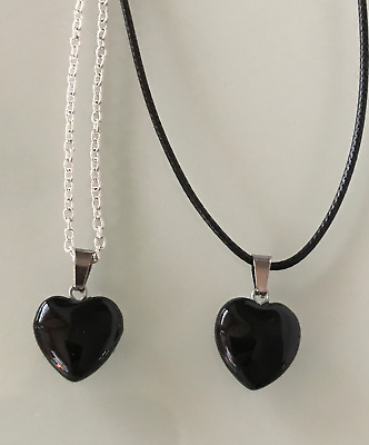 Protection Black Onyx Heart Crystal Gemstone Pendant Cord/Silver Necklace Chain • 3.99£
