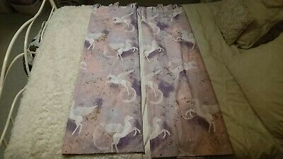 Unicorn Pair Of Curtains, 54  Drop, 64  Wide Each, Tab Top • 10£