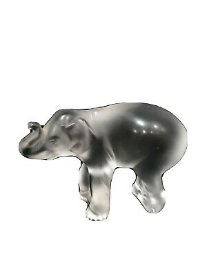 """Lalique """"Timori"""" Baby Elephant Sculpture In Clear & Frosted Glass With Label • 100£"""