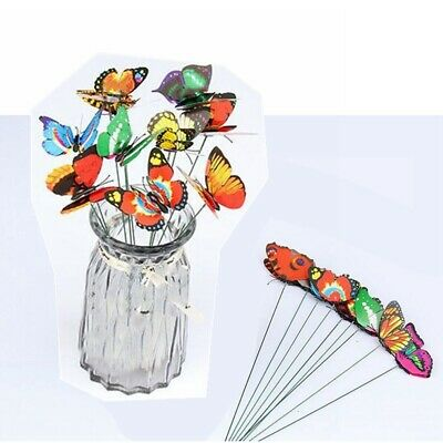 Home Colorful Flowerpot Decor Garden Decoration Butterfly Ornaments Gift 50pcs • 6.63£