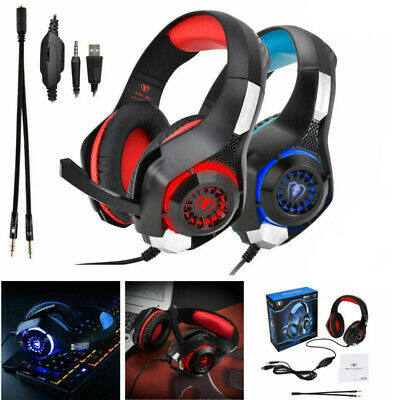 3.5mm Over-Ear Gaming Headphones With Mic Microphone Headset For Computer Laptop • 7.63£
