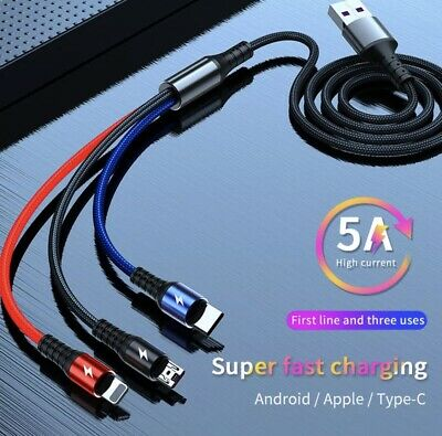 AU9.99 • Buy 1.88m 5A 3 In 1 IPhone/Type C/Micro USB  Universal Super Fast Charging Cable