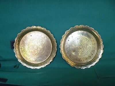 Vintage Indian Decorative Brass Plates / Dishes Circa 1914 - 1918 • 20£