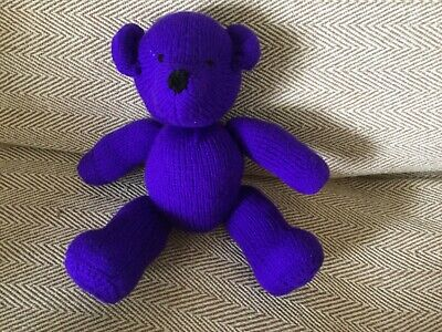 VIOLET  From  My Rainbow Of Teddies. Hand Knitted. Baby Safe Filling  • 9£