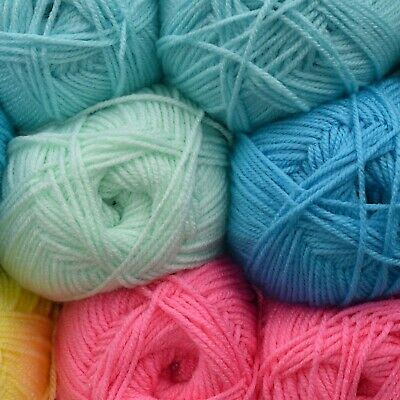 Soft Baby Double Knit Acrylic Wool DK Yarn 100g Ball Crochet Light Pastel Colour • 2.99£