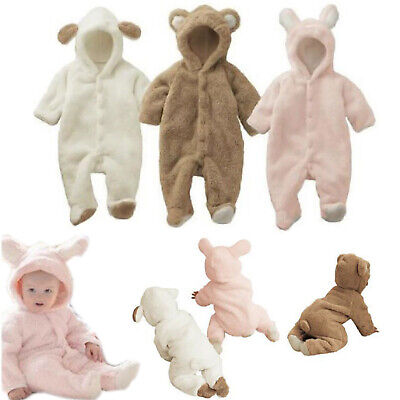 Infant Baby Romper Hooded Teddy Bear Tutu Jumpsuit Bodysuit Comfy Clothes Outfit • 13.29£