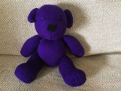 DAMSON  From  My Rainbow Of Teddies. Hand Knitted. Baby Safe Filling  • 13£