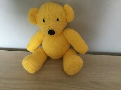 CUSTARD From  My Rainbow Of Teddies. Hand Knitted. Baby Safe Filling  • 9£