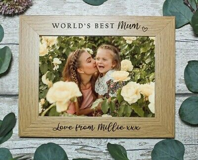 Personalised Engraved Photo Frame, World's Best Mum, Mother's Day 7x5 Or 6x4 In  • 11.25£