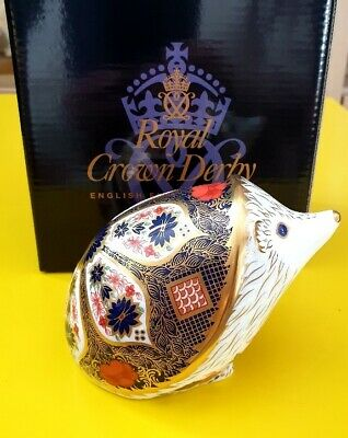 Royal Crown Derby Paperweight Gold Stopper  Old Imari Hedgehog  With Box. • 63£