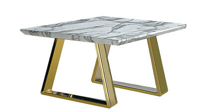 £184.99 • Buy Lamp Side End Table Marble Effect Table Top With Gold Finished Chrome Legs