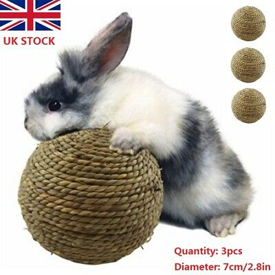 £5.99 • Buy 3pcs Small Pet Rabbit Cat Chewing Toy Natural Grass Ball For Teeth Cleaning Toys