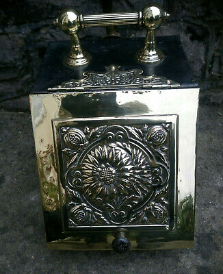 Victorian Brass Metal Coal Scuttle Storage Box Container Plus Shovel Dated 1865 • 260£