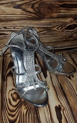 Lap Dancing Shoes Silver Premium 6 Diamond Bling Sandals Dance Stripper Strapped • 19£