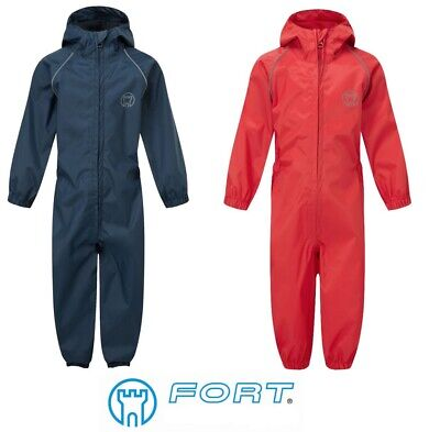 Kids Puddle Rain Suit Boys Girls All In One Overalls Waterproof Coverall Splash • 14.98£