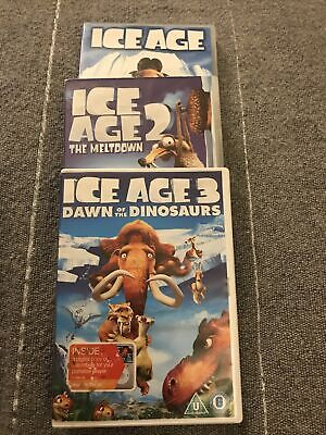 Ice Age + Ice Age 2 The Meltdown + Ice Age 3 Dawn Of The Dinosaurs DVDs • 3.99£