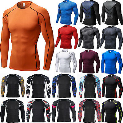Mens Compression Base Layer Thermal Long Sleeve Strech Gym Fitness Sports Tops • 12.69£