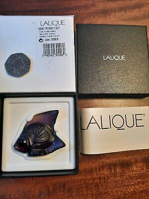 Lalique Fish Violet / Purple Angel Glass  Fish  Boxed And Etched  With Cert.  • 50£