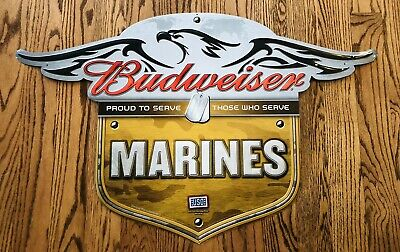 $ CDN158.25 • Buy Budweiser Beer Sign US Marines Tin Metal Embossed Exceptional!