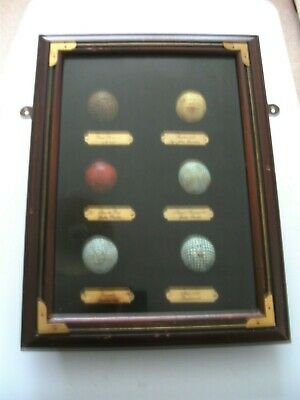 Golf Ball Display Cabinet.. Containing Six  [ 6 ]  Old Replica Golf Balls • 22.50£