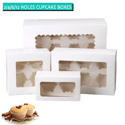 AU10.99 • Buy Cupcake Boxes 2/4/6/12 Holes Clear Window Cupcake Display Boxes Muffin Cups
