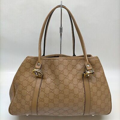 AU293.85 • Buy Gucci Tote Bag GG Twins Gucci Ssima Browns Leather 1905104
