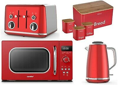 £299.99 • Buy Red Four Slice Toaster & Kettle Set Breville Microwave COMFEE' Storage Set GIFT