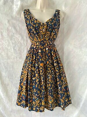 AU30 • Buy Gorgeous   GORMAN   Navy Print Fit And Flare Dress Size 10