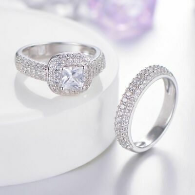 2.70 Ct Princess Cut Diamond 14K White Gold Over Bridal Halo Engagement Ring Set • 122.99£