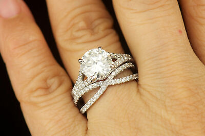 Exclusive 14k White Gold Finish Round Diamond Engagement Wedding Ring Set • 119.99£