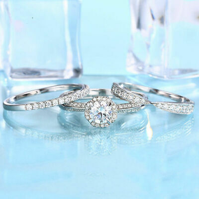Vintage Round Diamond 14K White Gold Finish Engagement Trio Ring Set • 119.99£