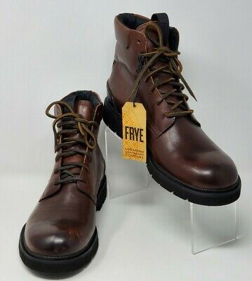 $109.97 • Buy Frye Mens Sz 9.5 Leather Lace Up Dark Brown Combat Boots 3481322-DBN 7200041 New