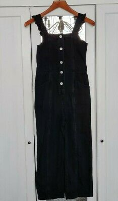 Girls Black Denim Dungarees Age 10 • 1.70£