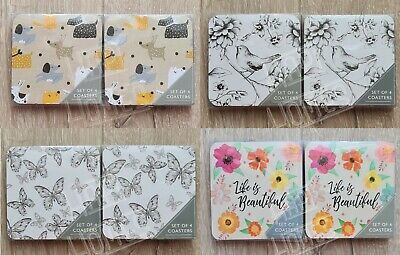£10.99 • Buy 8 Coasters Set Coffee Table Drinks Cup Mat Dog Puppies Butterfly Bird Floral Bee