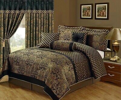 $ CDN105.07 • Buy Silky Black Gold Jacquard Floral Comforter Cal King Queen 7 Pcs Set Or Curtain