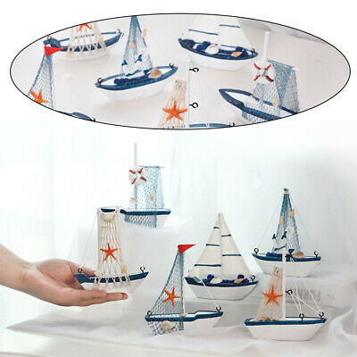 Bedroom Wooden Sailing Boat Model Mediterranean Style Office Nautical Decor Toys • 2.43£
