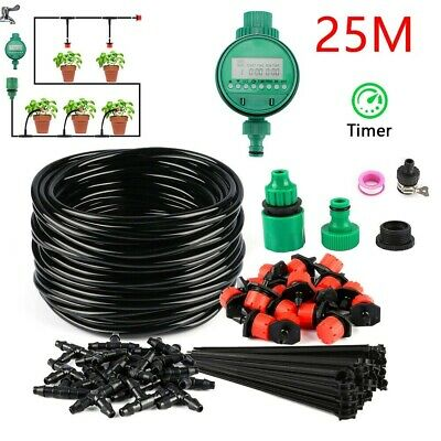 25M Automatic Drip Irrigation System Kit Plant +Timer Self Watering Garden Hose • 13.98£