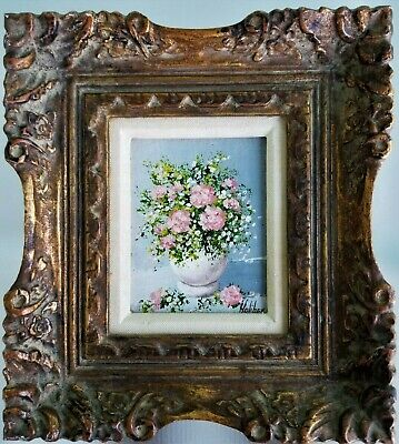 $75 • Buy Vintage Signed Oil Painting Still Life Flowers Chic June Holiber Worcester Ma.