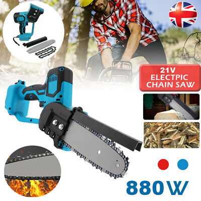 Cordless Electric Chain Saw Wood 880W Mini Cutter One-Hand Saw Woodworking Blue  • 39.98£