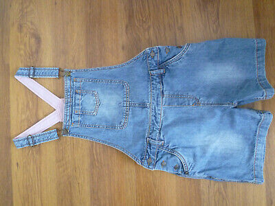Fat Face Girls Blue Denim Shortie Dungarees For Ages 12-13 Years • 10£