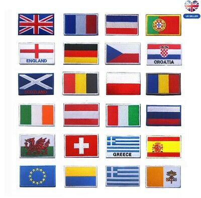 NATIONAL COUNTRY EMBROIDERED FLAG SEW ON/ IRON ON PATCH APPROX 6cm X 4cm • 3.99£
